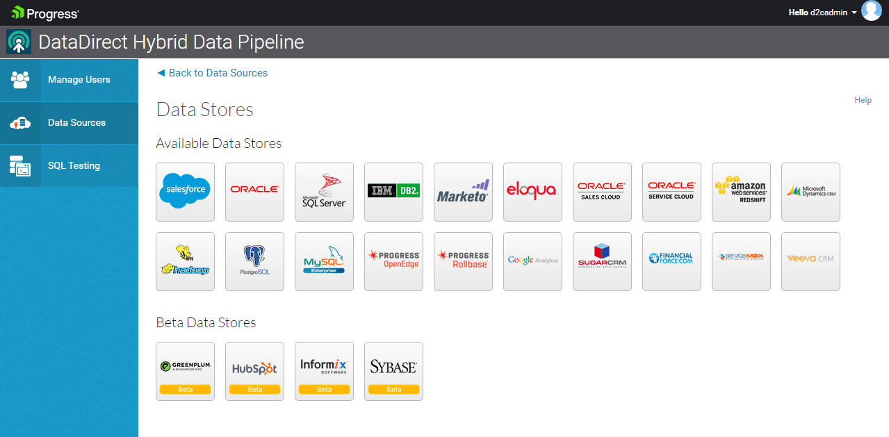 datastores supported in hybrid data pipeline