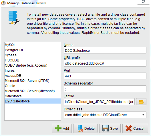 Configuring DataDirect Cloud JDBC driver in RapidMiner