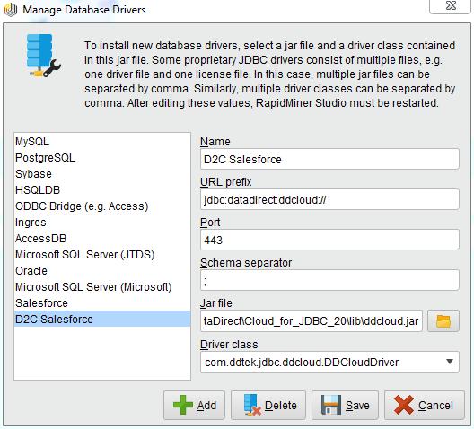 Configuring DataDirect Cloud JDBC driver in RapidMiner