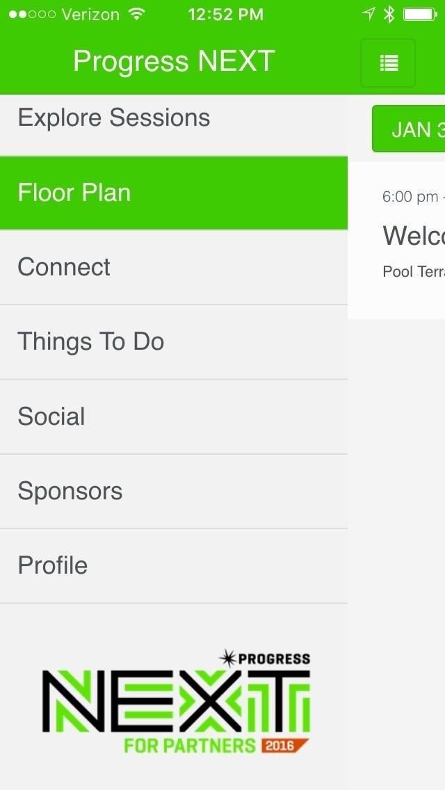 ProgressNEXT 2016 App - Home Screen