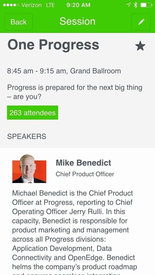 ProgressNEXT 2016 App - Mike Benedict