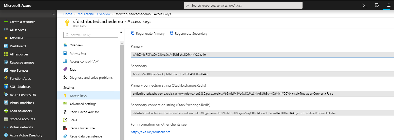 Azure Redis Access Keys
