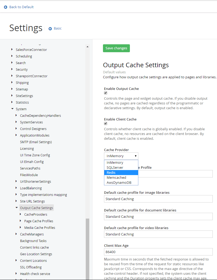 Output Cache Settings