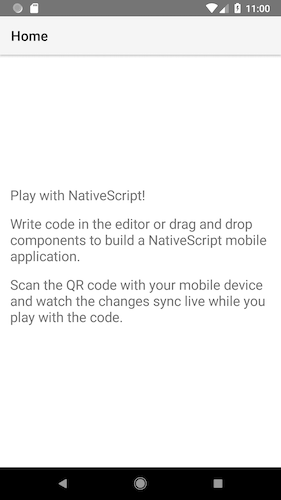 Android NativeScript Playground