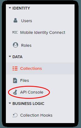 Kinvey API Console