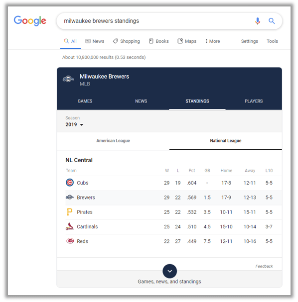 google microapps sports standings