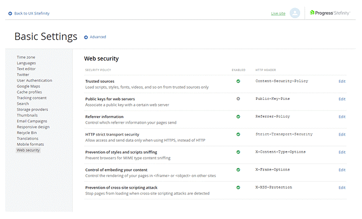 Sitefinity Security Settings