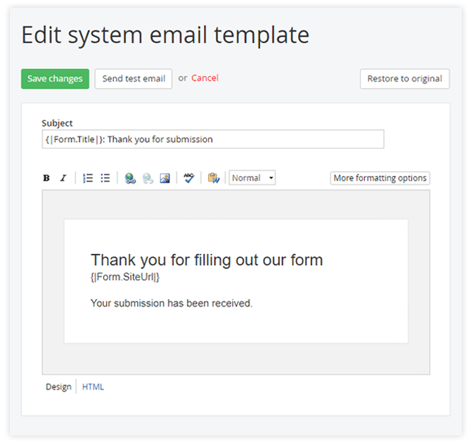 Custom confirmation email template