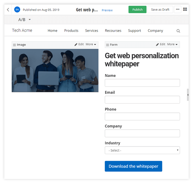 Add forms to campaign pages