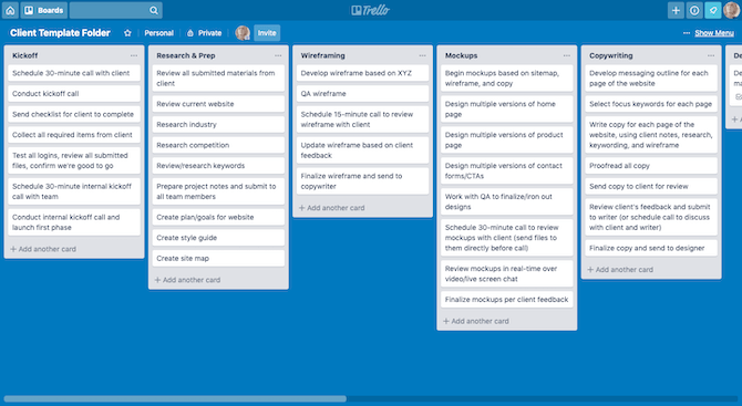 An example of a project in Trello