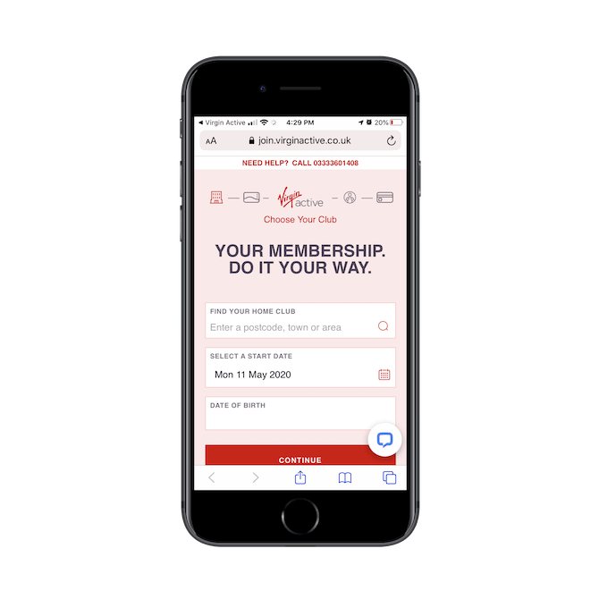 The membership intake form for Virgin Active UK, as seen on mobile. It asks for the preferred home club, start date, and birthday.