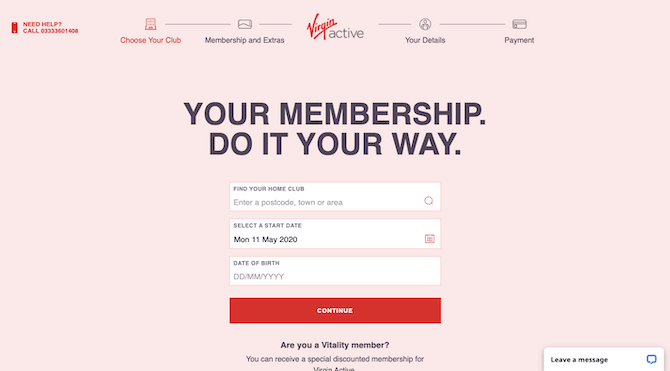 "The first page of the Virgin Active UK membership signup and portal that encourages leads to become active club members with ""Your Membership. Do It Your Way."" and a short intake process."