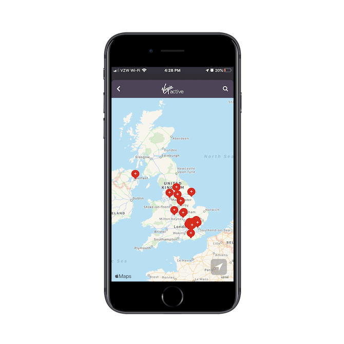 Virgin Active's mobile app helps new customers find their home location using an interactive map of the United Kingdom.