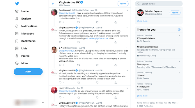 Virgin Active UK regularly monitors and responds to feedback, questions, and complaints on its Twitter page.