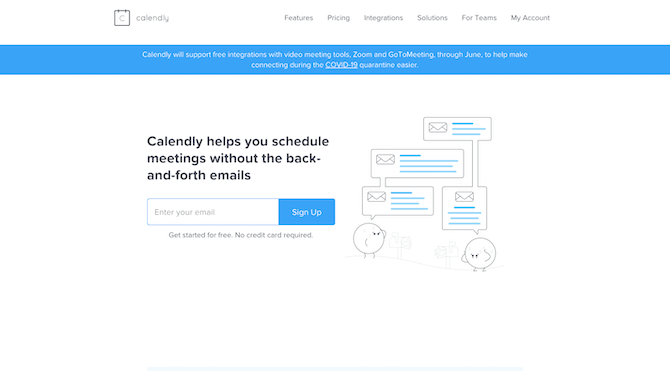 The Calendly home page keeps the design and message simple: schedule meetings without the back-and-forth emails.