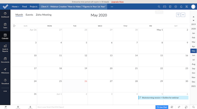 Zoho Projects users can track their projects across a number of views, including the calendar task view.