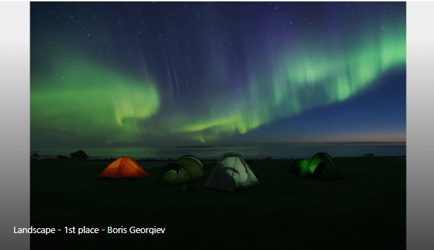 Landscape Category Winner: Camping with Aurora by Boris Georgiev