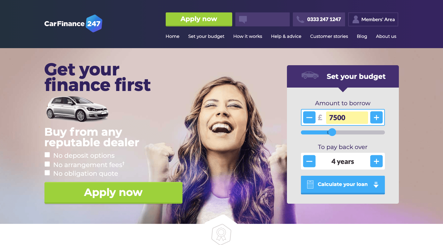 Car Finance 247 Homepage in 2018