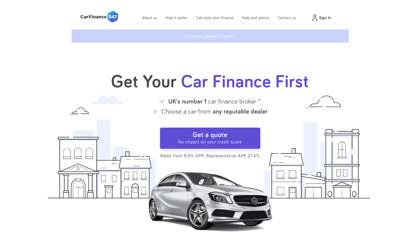 Car Finance 247 Homepage in 2021
