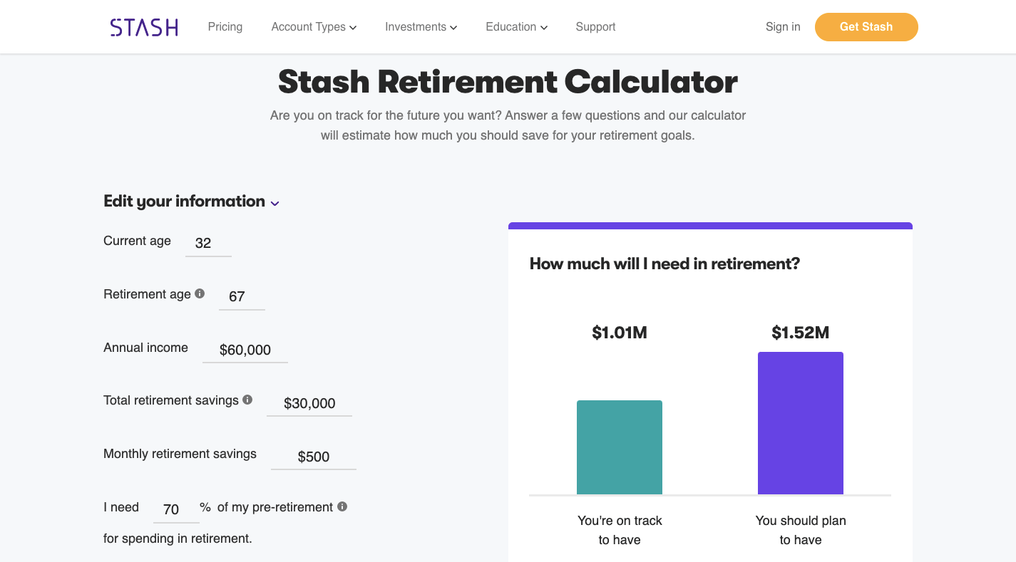 Stash Retirement Calculator