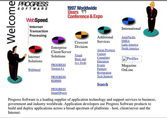 Progress Software Homepage Website Design in 1997