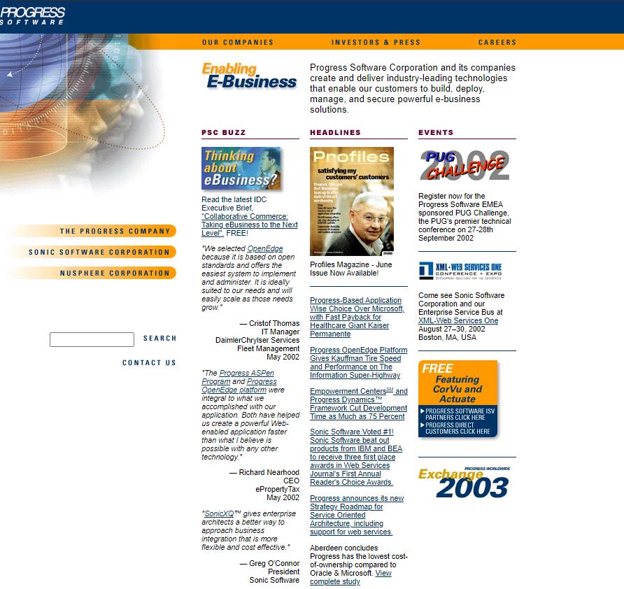 Progress Software Homepage Website Design in 2003