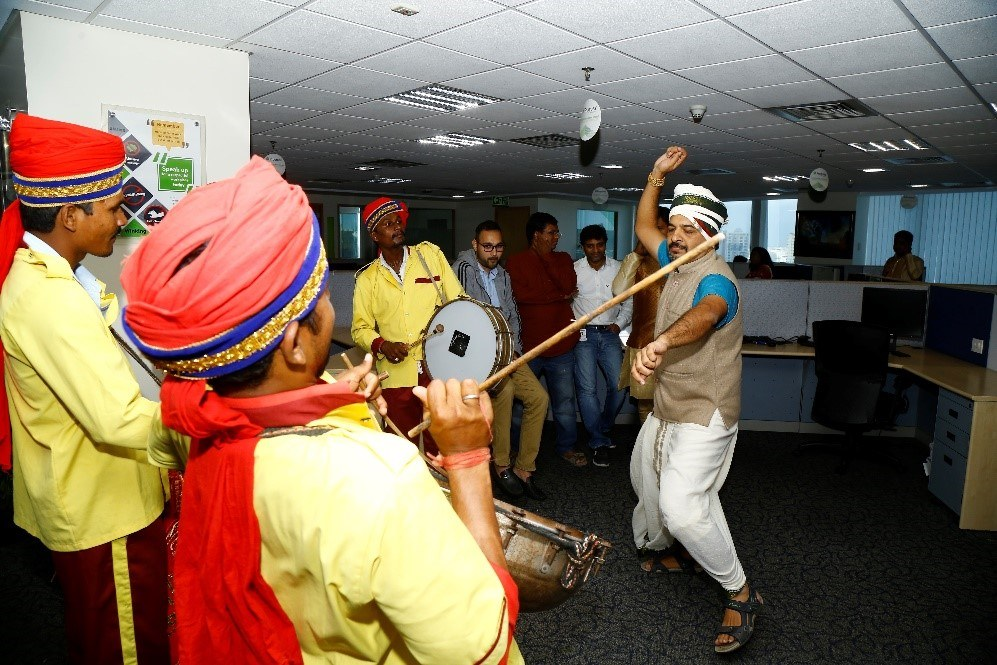 Diwali celebration, drums and dancing