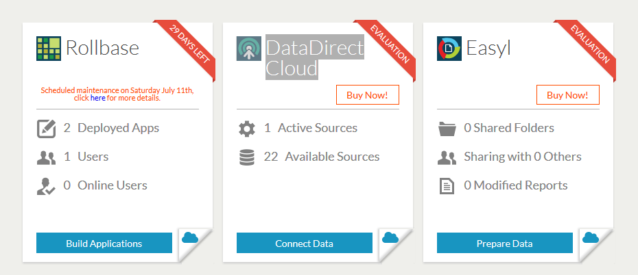 Opening the DataDirect Cloud Dashboard