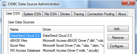 Click 'Add' in the ODBC Data Source Administrator