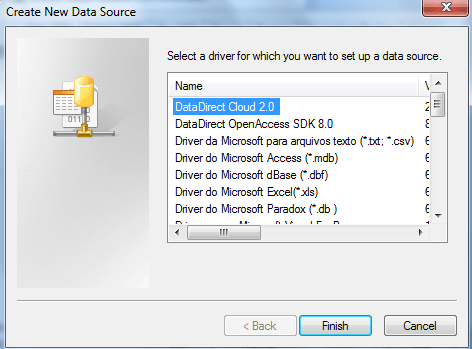 Create the new data source in the next window.