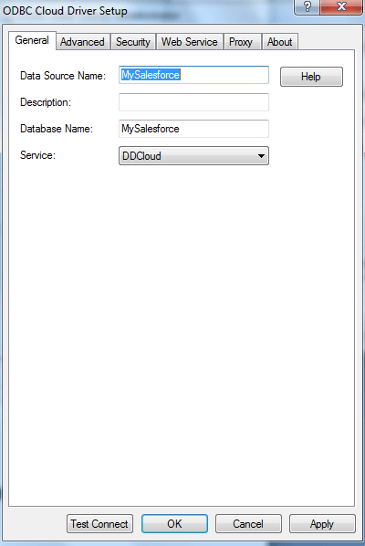 Set up driver based on details from the DataDirect Cloud setup.