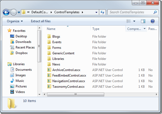 Templates folder in the Sitefinity 4.0 SDK