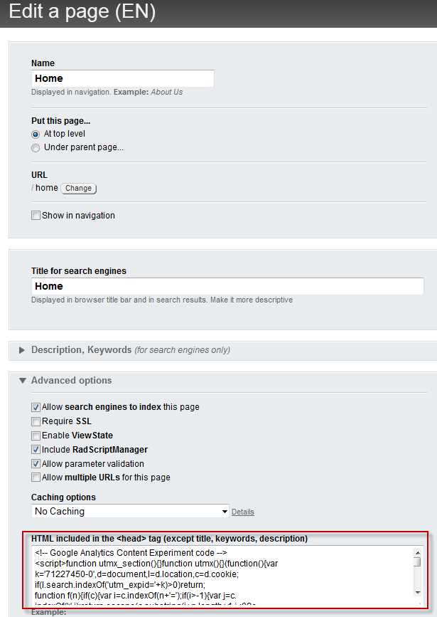 Inserting code into a Sitefinity Page head section