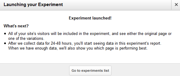 GA Page experiment launch confirmation