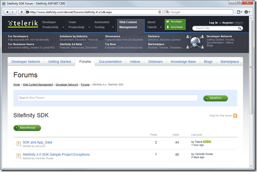 New Sitefinity developer discussion forum for Sitefinity 4.0 SDK questions