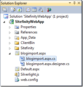 The codebehind file for the Blog Import ASPX page.
