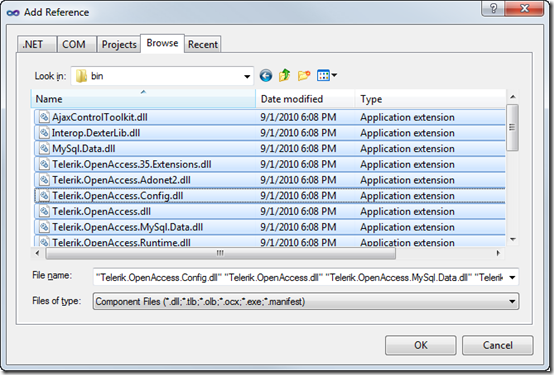 Browing for assemblies in the bin folder and adding DLL references to the project