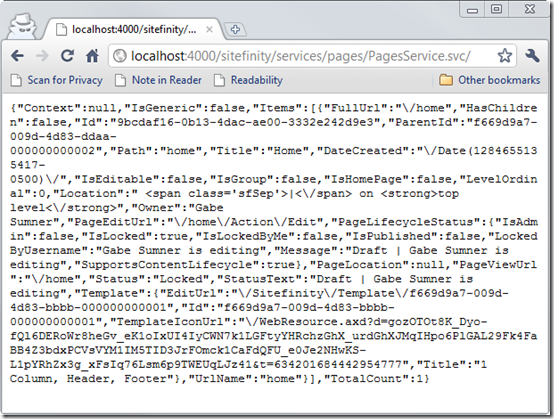 JSON data being returned from a Sitefinity 4.0 web service