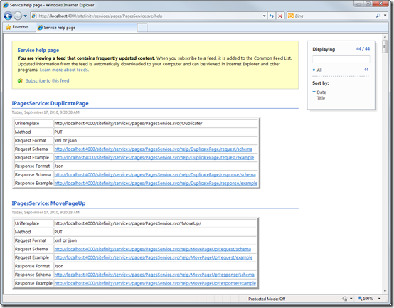 Help for Sitefinity 4.0 Web Services