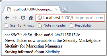 Opening the Blog Import ASPX page in a web browser