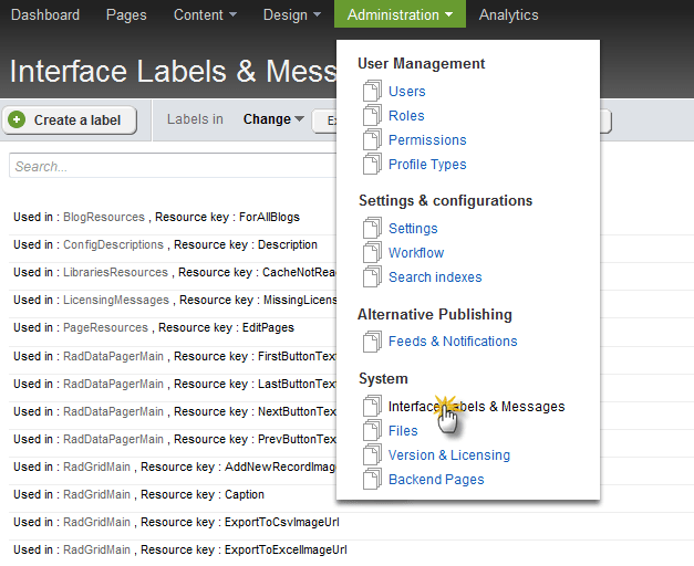 Administration->Interface Labels and Messages