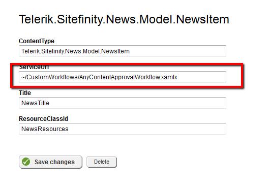 Register custom workflow service for news items