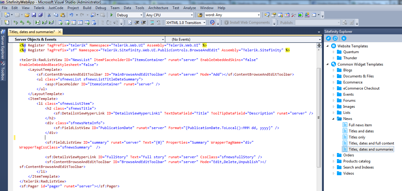 Editing Sitefinity Widget Templates through Sitefinity Thunder