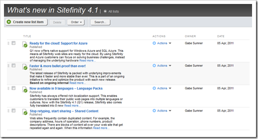 New lists module available in Sitefinity 4.1