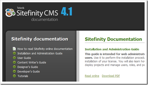 Improved documentation with Sitefinity 4.1