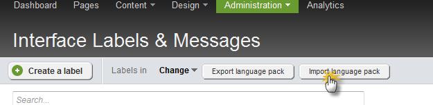 Import language pack button