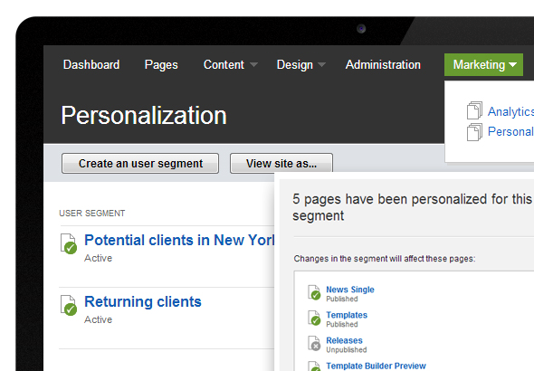 Personalization in Sitefinity CMS