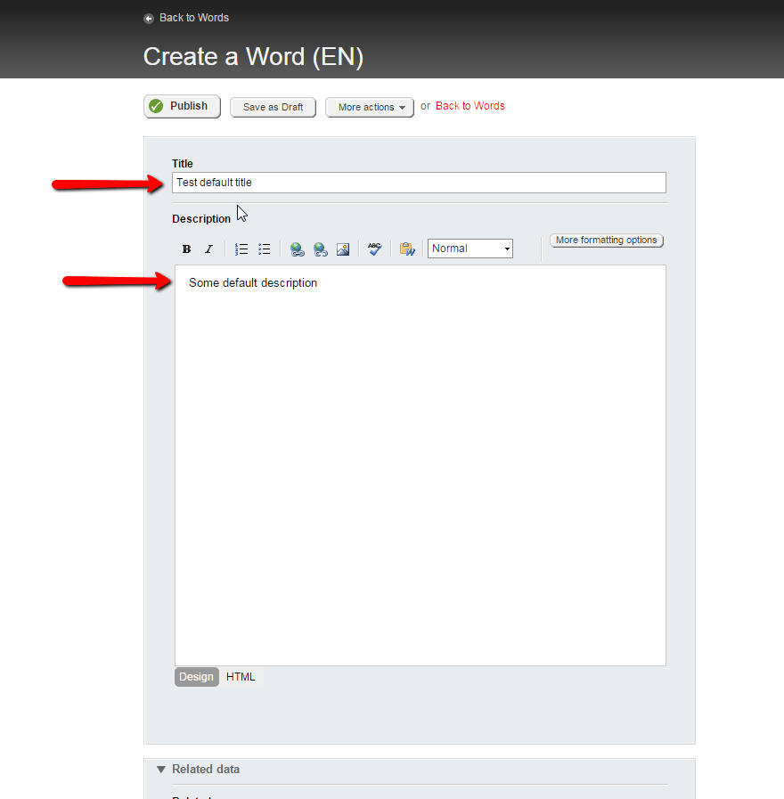 How to add predefined values to the backend create view