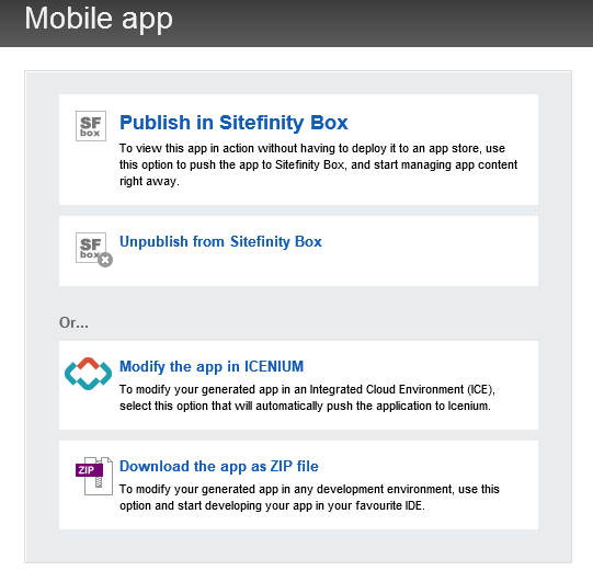 Publish to Sitefinity Box