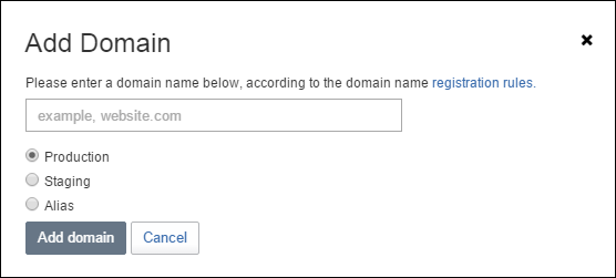 Register a new Sitefinity domain
